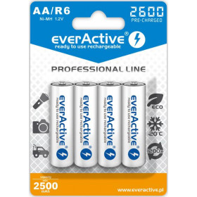 "Akumulatorki AA / R6 everActive Ni-MH 2600 mAh ready to use ""Professional line"" (box 4szt)"