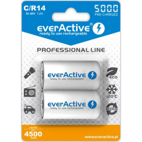 "Akumulatorki C / R14 everActive Ni-MH Ni-MH 5000 mAh ready to use ""Professional line"" (box 2 szt)"