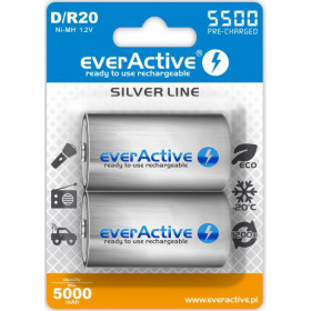 "Akumulatorki D / R20 everActive Ni-MH Ni-MH 5500 mAh ready to use ""Silver line"" (box 2 szt)"