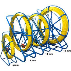WŁÓKNO SZKLANE DO PRZECIĄGANIA KABLI 4,5mm / 100m (PILOT / STALKA) PE + STOJAK